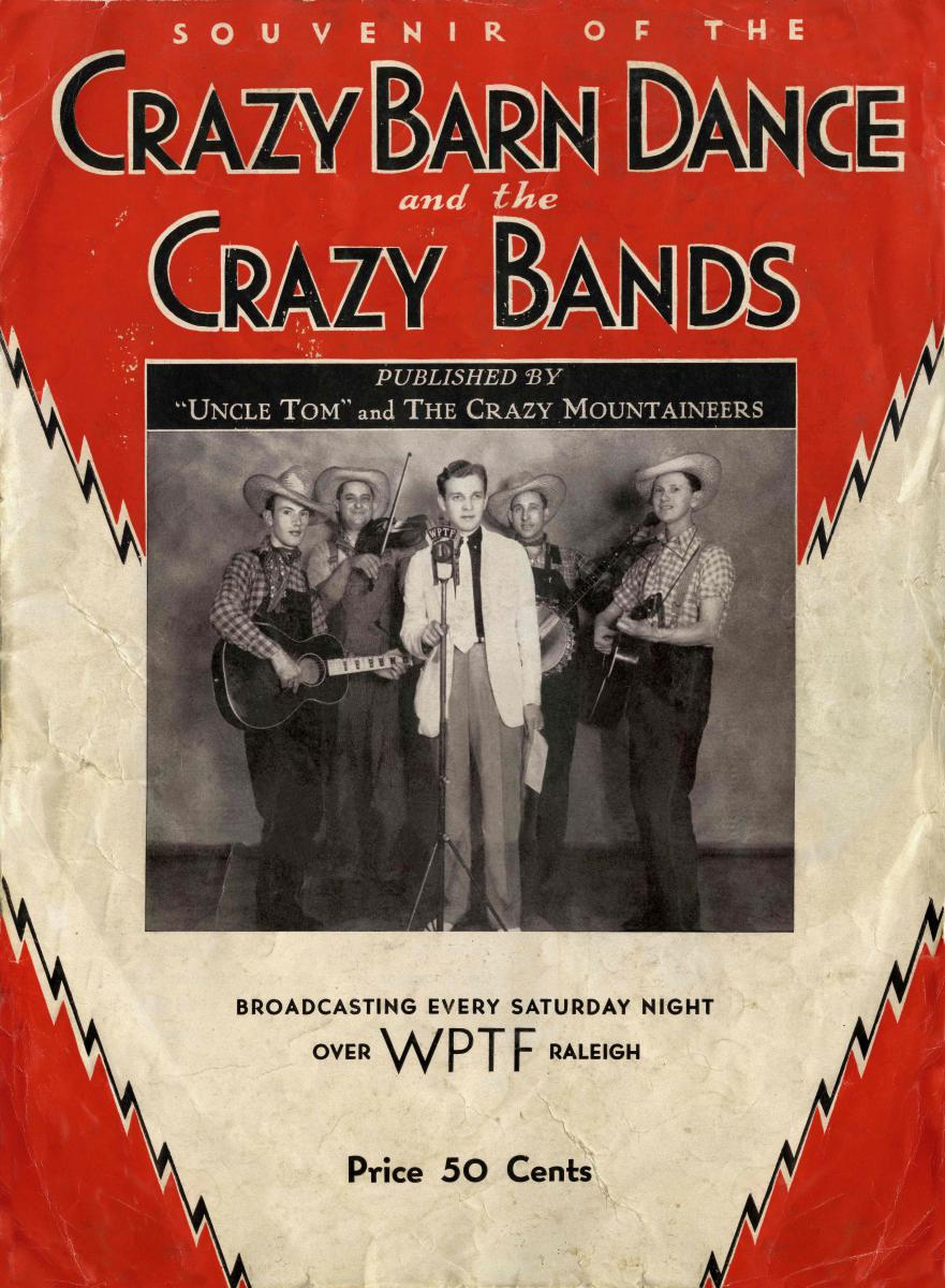 "Souvenir book cover from Crazy Barn Dance with ""Uncle Tom"" and The Crazy Mountaineers"