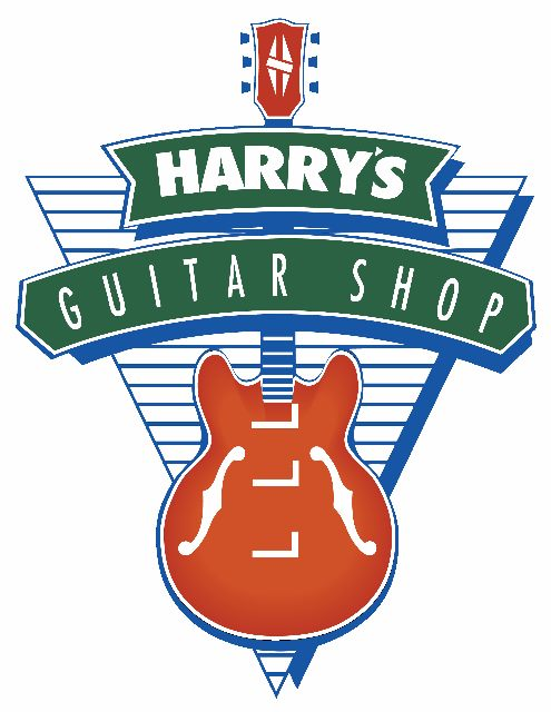 "Harry's Guitar Shop Logo - Background: An illustration of a triangle, point down, with horizontal stripes, an illustration of an electric guitar, vertical (neck & tuning pegs at top of image, guitar body at point of triangle), and the words ""Harry's Guitar Shop"" in two lines overlay the guitar neck"