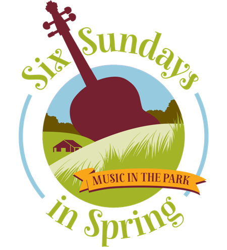 "Six Sundays in Spring: Music in the Park logo; illustration of a park (green grass, hills, trees; a building, and blue sky) with a guitar shape prominent in the background - the neck of the instrument is between the words Six and Sundays, which curve around the top of the circular illustration; the words in Spring"" curve around the bottom of the illustration;  ""Music in the Park"" is on a flag near the bottom of the illustration.)"