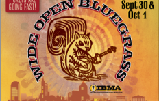 PNC presents Wide Open Bluegrass: Fri/Sat, Sept 30 & Oct 1, Ticketed Main Stage and Free StreetFest, downtown Raleigh; Main Stage tickets are going fast! An illustration of a squirrel holding a banjo is in the center of the image, with silhouettes of banjos, fiddles, mandolins, guitars and basses emanating from concentric circles behind the squirrel. Below the squirrel is a rendering of the City of Raleigh skyline.