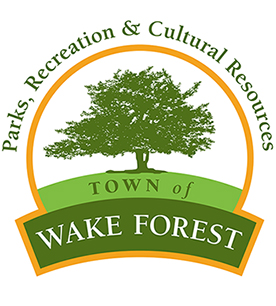 "Town of Wake Forest Parks, Recreation, & Cultural Resources logo; includes an illustration of a tree above the words ""Town of Wake Forest;"" the words ""Parks, Recreation, & Cultural Resources"" curve around above the tree."